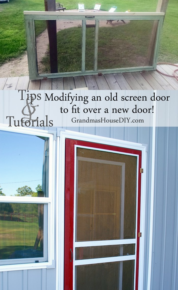 Modifying an old green screen door to fit over a new glass exterior door on our deck and painting it with red outdoor paint, diy, remodeling, installing