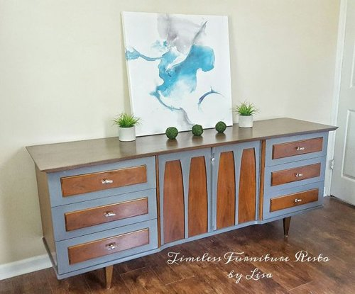 Inspiration board, a collection of refinished furniture found on Hometalk that brings the paint and stain combination together in a stunning way!