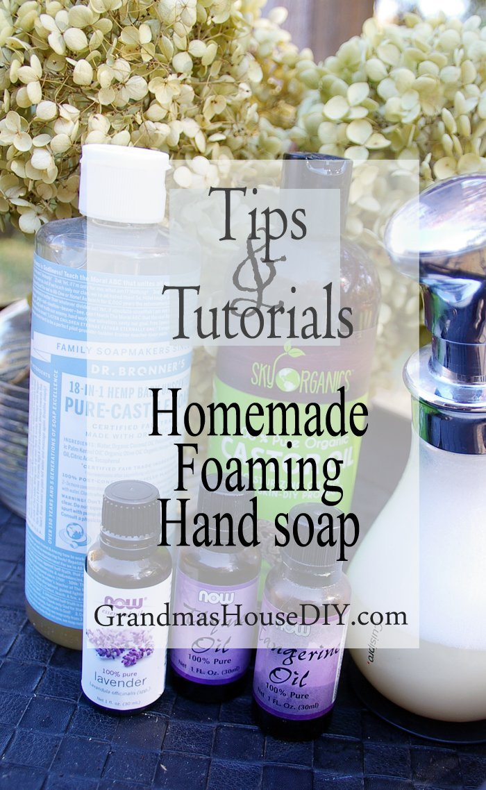 Homemade DIY foaming hand soap recipe using castile soap, castor oil and thyme, lavender and tangerine essential oils, frugal money saver