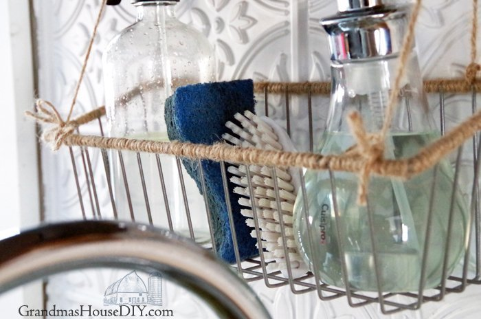 Wrapped twine hanging basket how to make it country for my kitchen organization