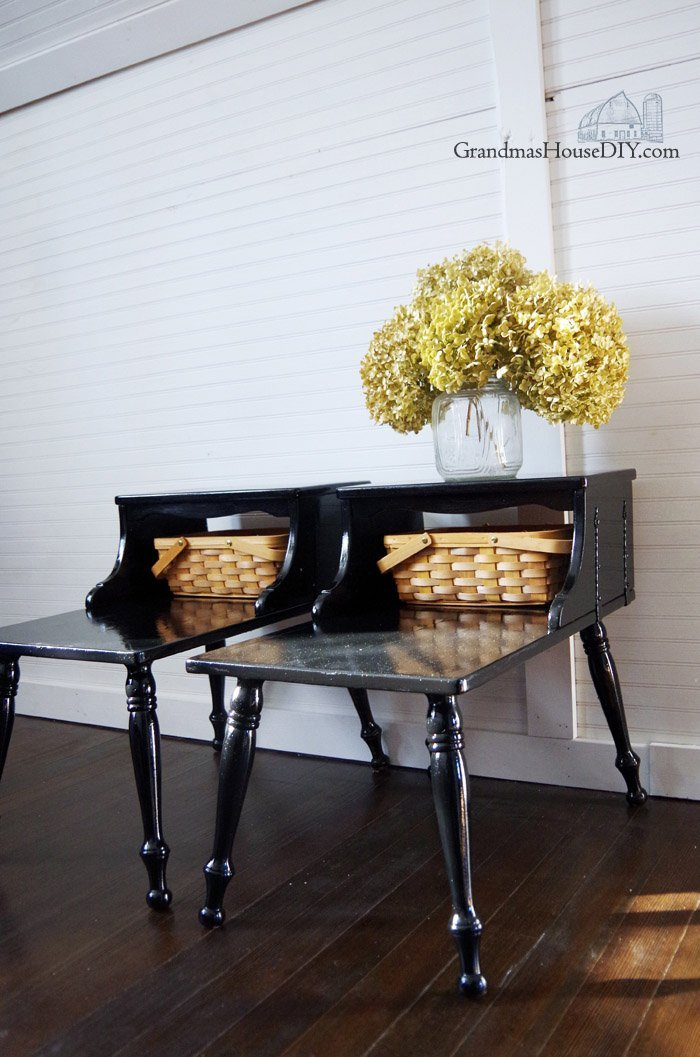 A couple of very country bedside tables get a chic glam hollywood makeover using glossy black paint for our master bedroom! Furniture before and afters