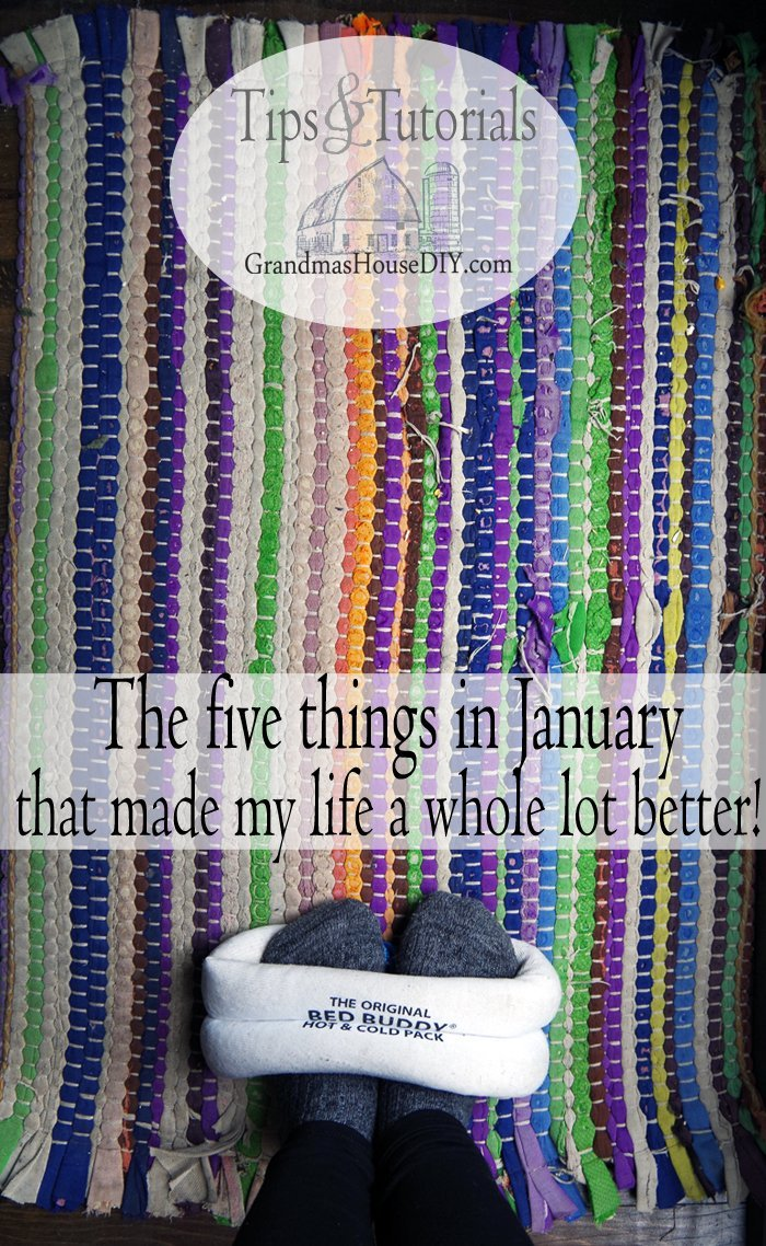 The five things in january that made my life awesome. Bed buddy, silicone baking cups, Mason jars, spray bottle, hanging basket