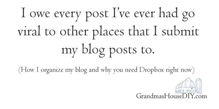 Blog organization, link parties, submit places, how and why you need to start using Dropbox for your blog