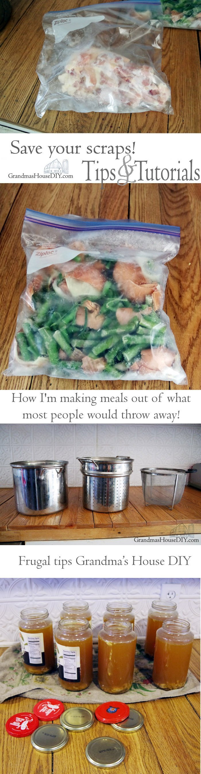 My favorite frugal kitchen tips and how I'm making meals out of what most people would throw away! making chicken broth our of nothing but kitchen scraps!