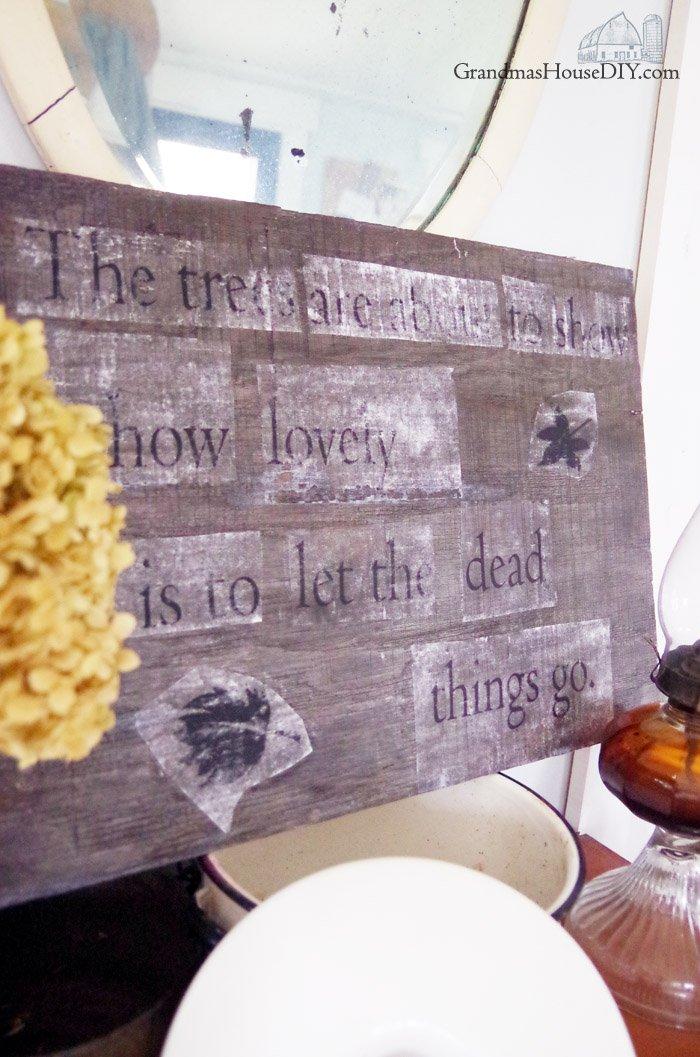 Farmhouse Hens Decorate a collaboration between DIY bloggers creating a farmhouse fall vignette, enamelware, firewood, barnwood, autumn