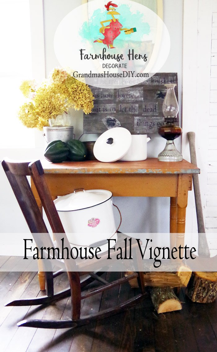 Farmhouse Hens Decorate a collaboration between DIY bloggers creating a farmhouse fall vignette, enamelware, firewood, barnwood, autumn