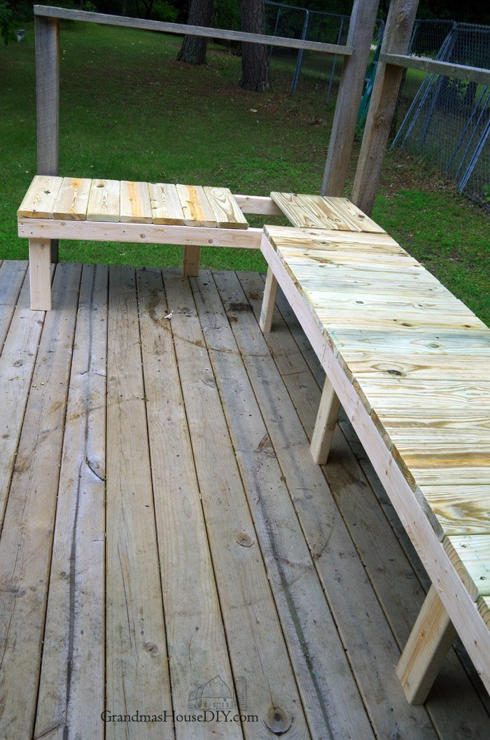 Out door bench plan built into a corner of a green treated deck, wood working, tips and tutorials, how to, diy, do it yourself, backyard, outdoor project
