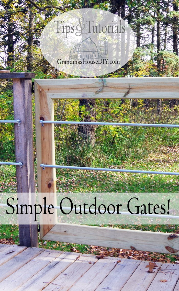 How I built deck gates for our outdoor deck to match our steel conduit deck rails out of 2x4 green treated wood, hinges, gate latches and steel hangers