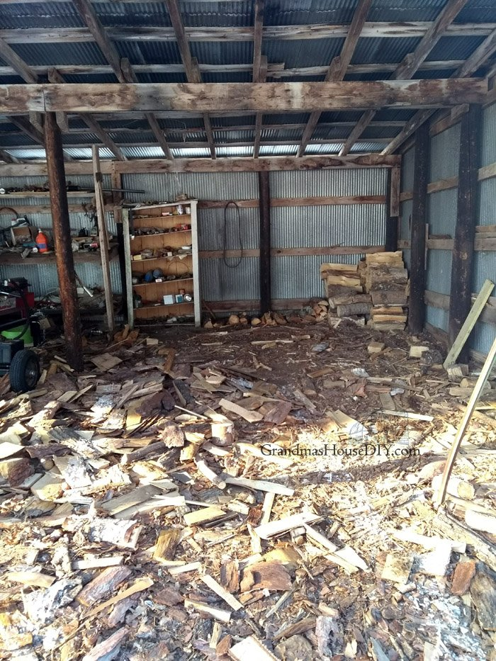 Tackling my 2018 spring and summer to-do list, cleaning out the wood shed, preparing it for hay and making a pile of trash to take to the dump. Cleansing my life with fire, purging myself from a horrible and toxic relationship by burning what he left behind.