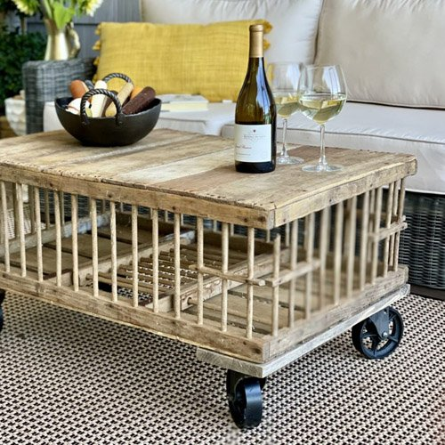 DIY Coffee table from a vintage chicken crate