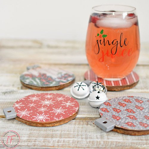 Christmas Scrapbook Paper Drink Coasters