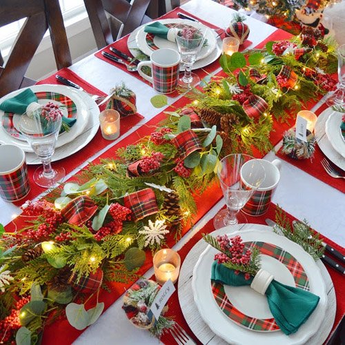 Cozy Plaid Christmas Tablescape with Garland Centerpiece