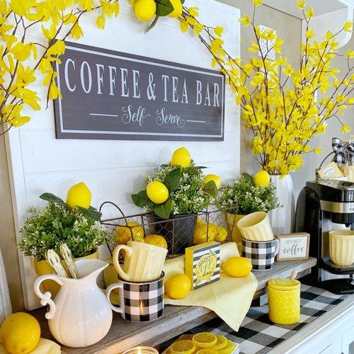 Coffee and Tea Bar with Lemon Decor