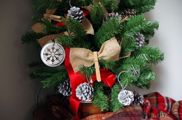 12 Days of Christmas Blog Hop an entirely homemade farmhouse tree for my 100 year old house, come see how I made all of the ornaments and country decor