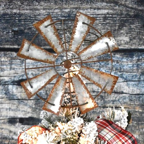 DIY Bed Spring Windmill Christmas Tree Topper
