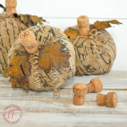 Unique French Burlap Decoupage Pumpkins