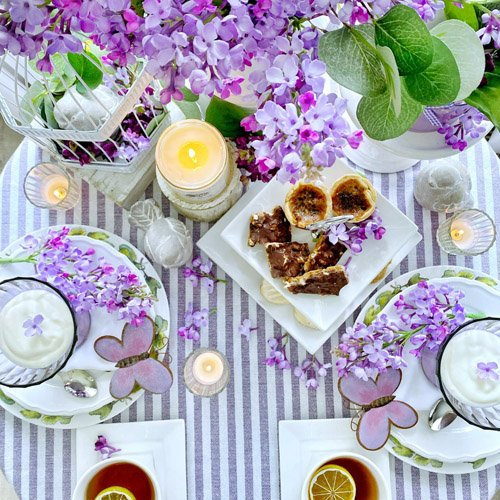 Lilacs and Butterflies Tea Party for Two