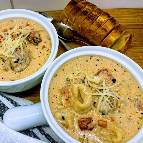 Slow Cooker Creamy Tortellini & Sausage Soup