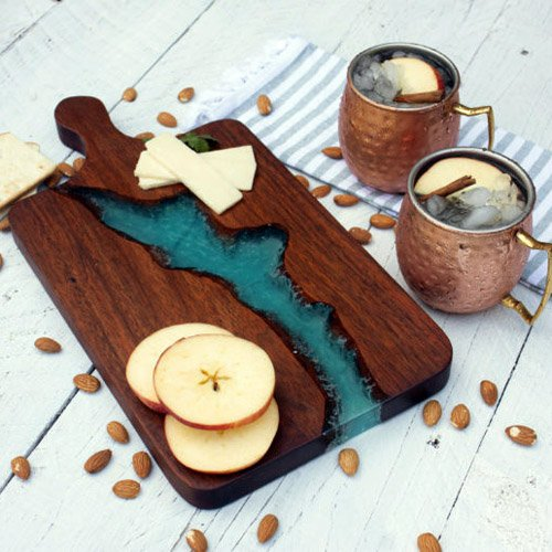 Wood & Resin River Charcuterie Board