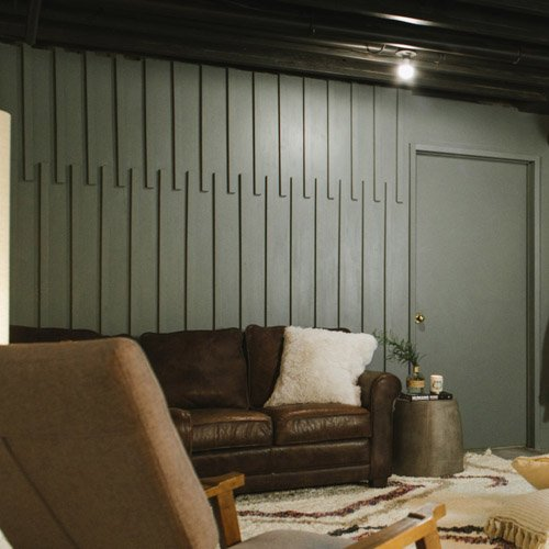 A diy mid-century wood accent wall