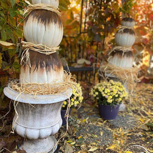 Easy Rust Activated Abstract Pumpkin Topiaries link party #214
