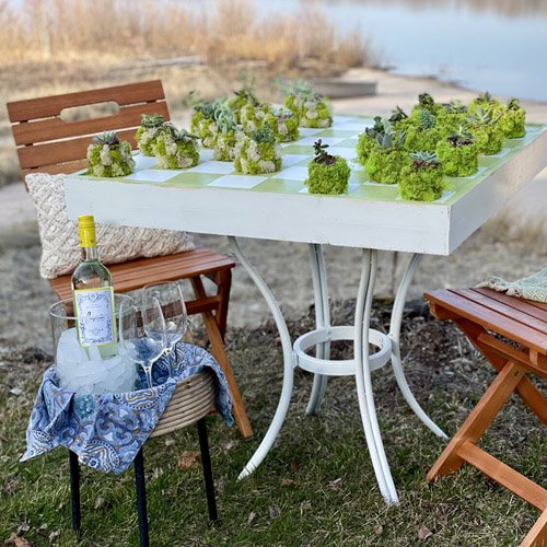 The cutest checkerboard table for the patio!