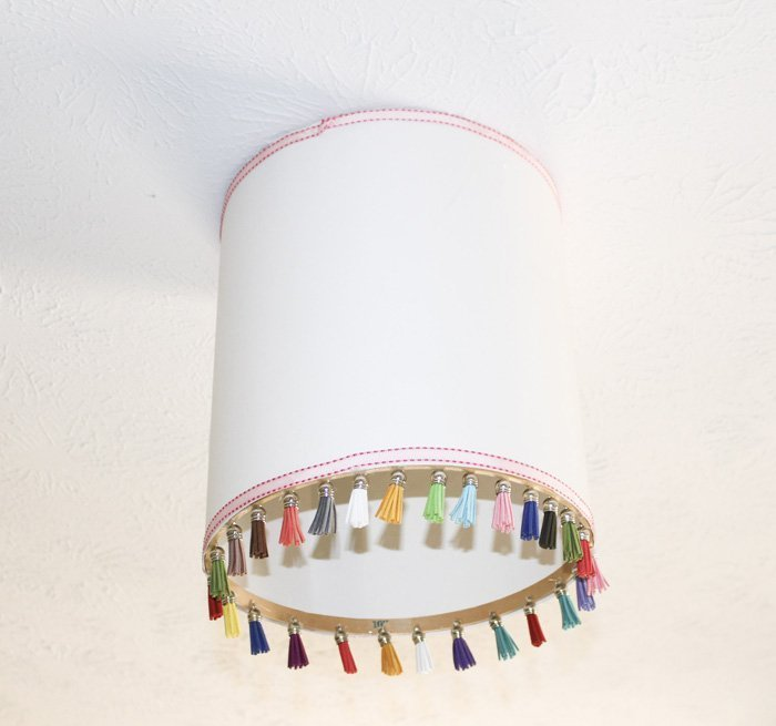 How To Make A Tassel Drum Shade With Poster Board ourcraftymom.com