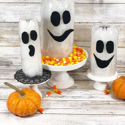 Recycled Bottle Halloween Ghosts a Quick and Easy DIY