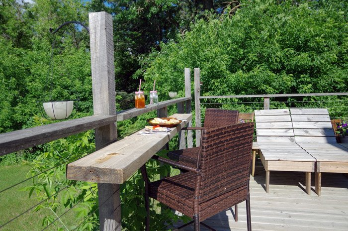 I've been seeing bar top deck railings all over the internet the past year and it occurred to me that its definitely something we would get use out of!