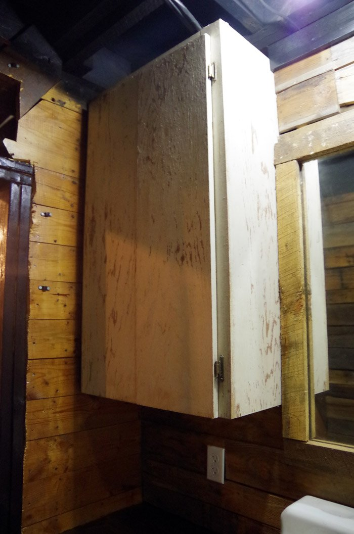 My Grandpa built these bathroom cabinets for their main floor bathroom back in the 1950s when they first got REAL indoor plumbing.