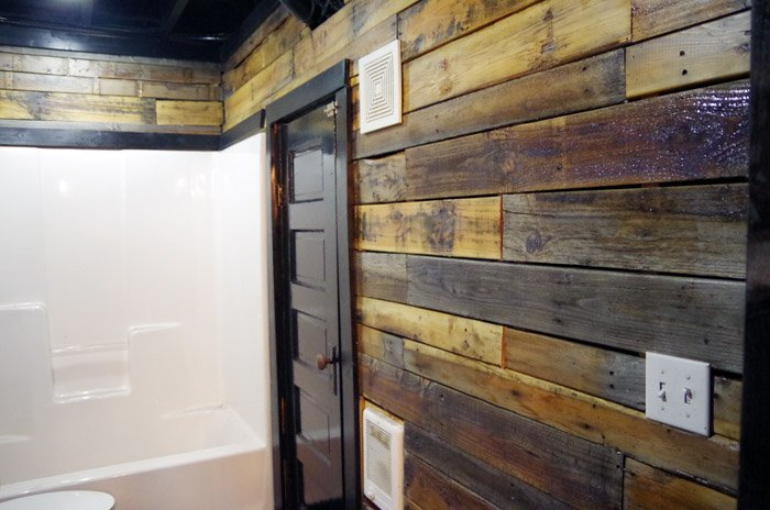 Returning to work on the Basement Bathroom by tackling the pallet walls. This Basement has been a LONG, slow process for us