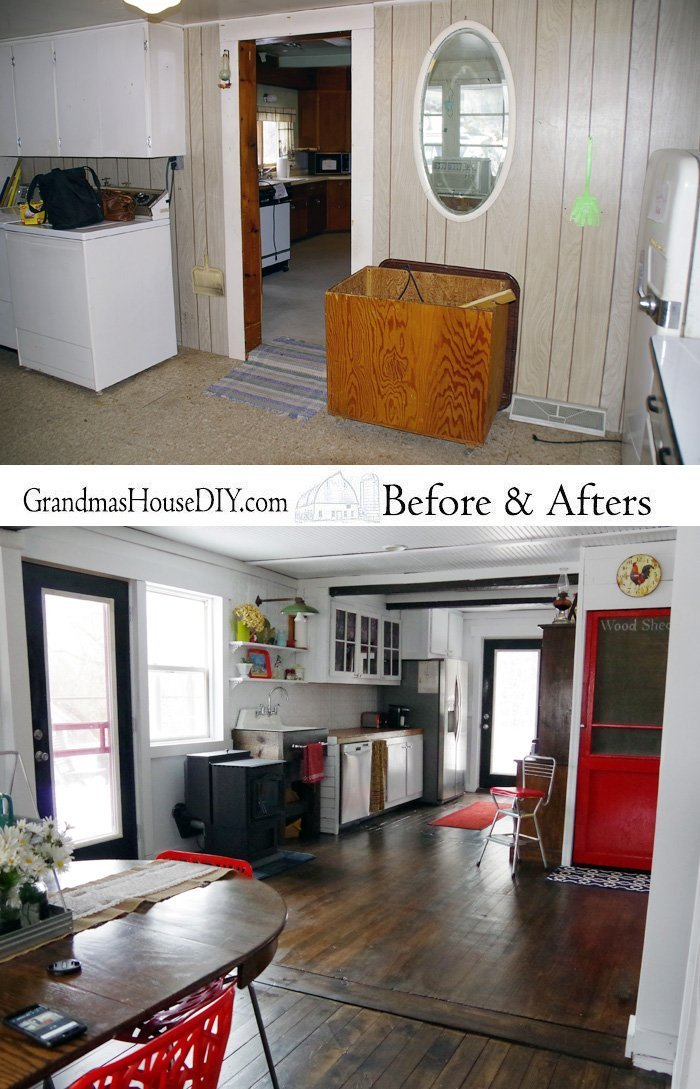 DIY Farmhouse Kitchen Reveal, somehow I took space AWAY from my kitchen and yet I ended up with MORE storage and a bigger feeling kitchen! A small remodel!