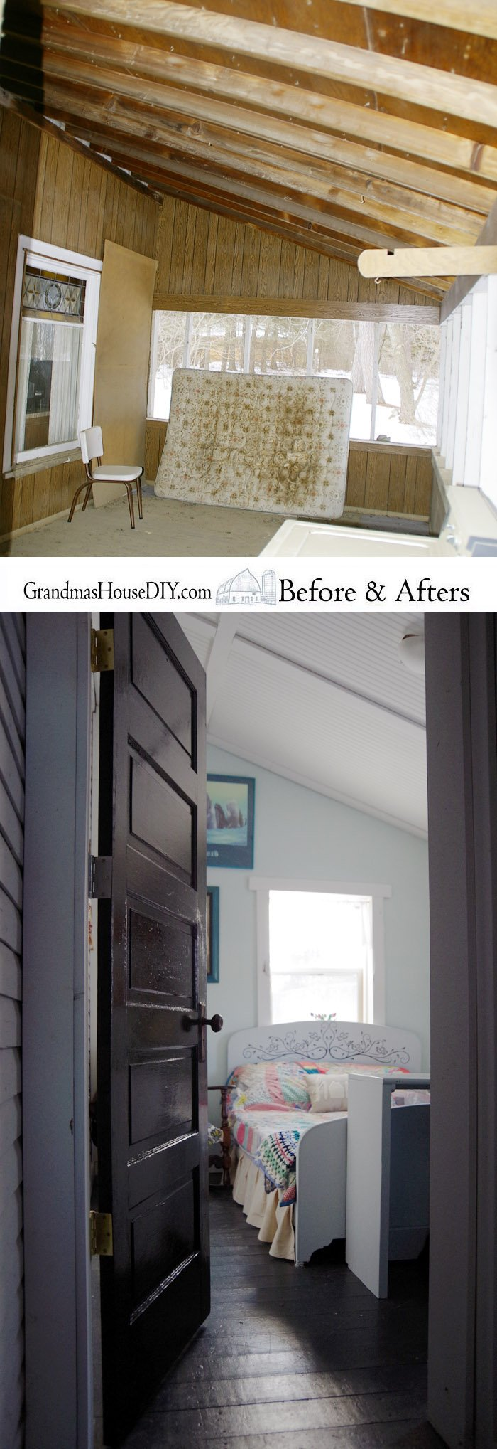 The before and afters of the entire home remodel, renovation, do it yourself of a 100 year farmhouse after fully gutting it and DIY everything!