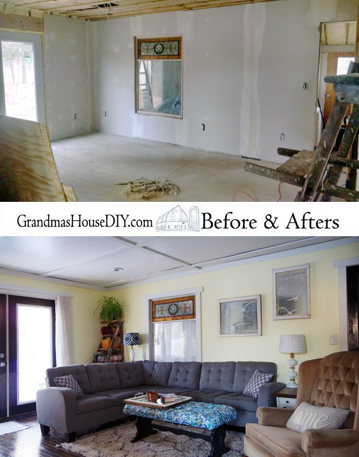 A farmhouse living room remodel renovation reveal. Farm house living with a boho and practical twist, finally completing the main floors of my home