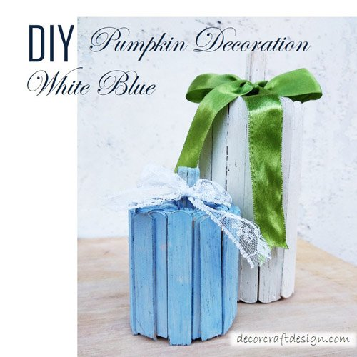 DIY Pumpkin Decoration White Blue
