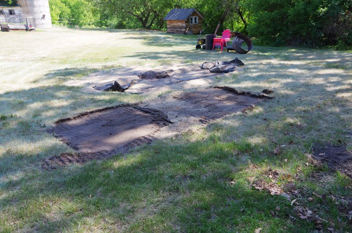 Cutting out the Sod and Framing - Stage one for our Lower Deck. In our last post I talked about how Lodi used the skid steer to prepare