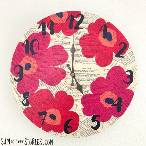Book Page and Paper Napkin Clock Makeover
