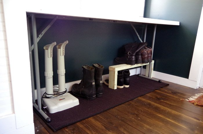 Creating shelves and hidden storage beneath a narrow plant table in our entryway for boots and boot dryers and whatever else we may need to store