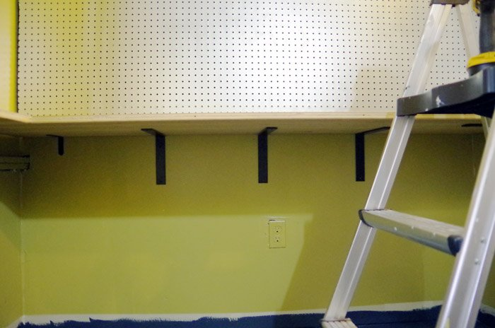 """Building Lodi a Custom Hickory Workbench and Shelves. The """"closet"""" in Lodi's new room was the obvious place for his workbench"""