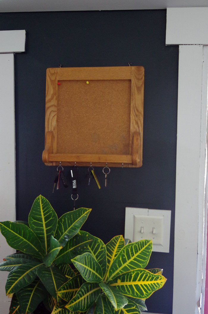 I've had this little pine cork board my grandparents' made for many years now. It comes with the added perk of also being a key kaddy!