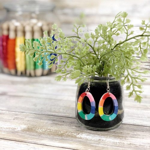 Easy Rainbow Earrings with Liquid Sculpey