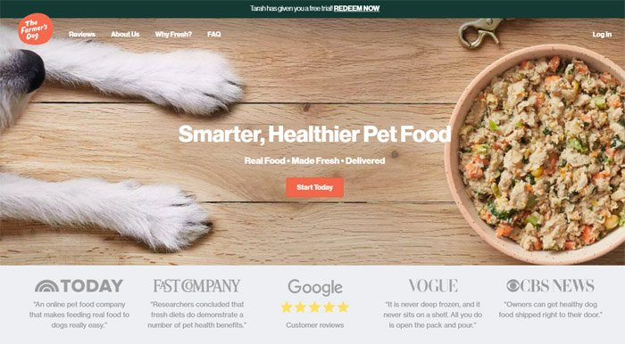 The farmers dog food made our dog feel so much better - August 2021
