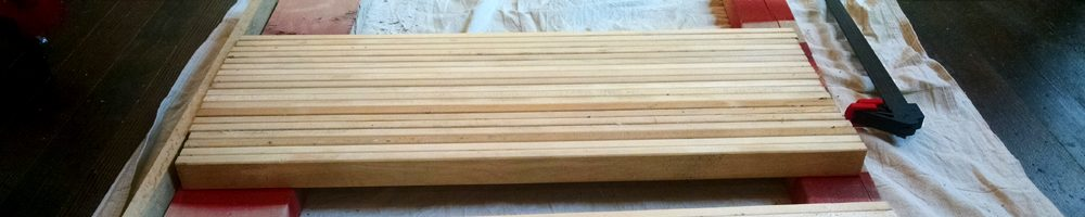 How to build your own butcher block island counter top, DIY, make your own at home with wood glue, slats, a brad nailer and clamps How to build your own butcher block island counter top, DIY, make your own at home with wood glue, slats, a brad nailer and clamps