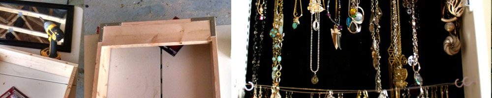 How to build a jewelry cabinet for necklaces and earrings out a $9 walmart mirror tutorial build plans wood working how to tips DIY How to build a jewelry cabinet for necklaces and earrings out a $9 walmart mirror tutorial build plans wood working how to tips DIY