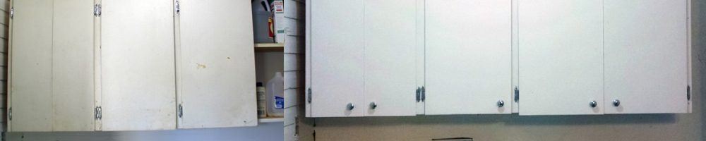 Paint an old cabinet in our laundry room and add new hardware to give it a face lift!