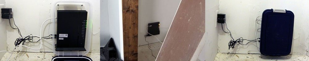 A creative solution to covering and protecting my router and modem in the closet of my workshop by using a bin with a hinged lid to protect my wifi