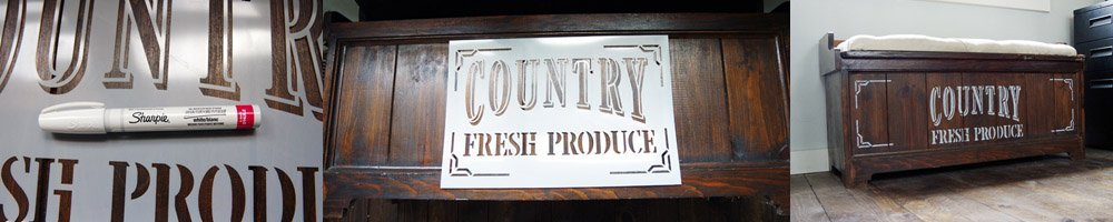 How I added a Country Fresh Produce stencil to my old bench using tape and a Sharpie Oil-Based Paint Marker in white, DIY so easy do it yourself project