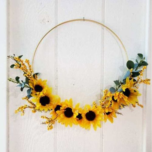 Simple Gold Hoop And Sunflower Wreath