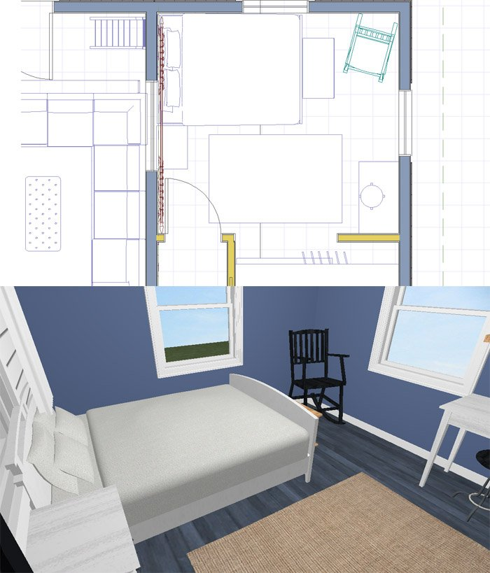 Planning the new furniture layout in my unisex redesign of my guest bedroom after new masulcine paint and decisions to make it more grown up