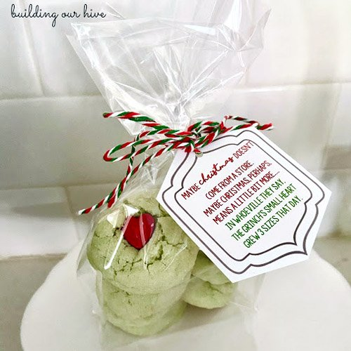 Grinch Cookies with Printable Gift Tag